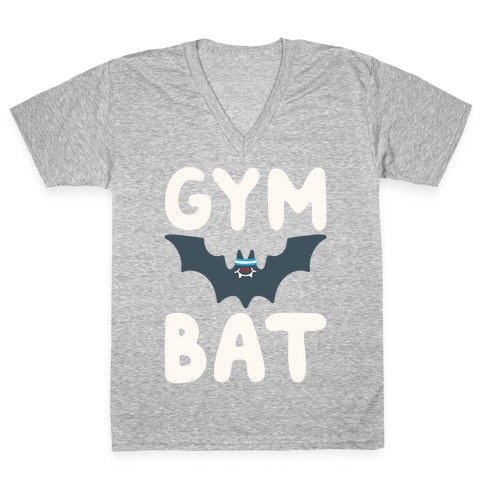 Gym Bat White Print V-Neck Tee Shirt