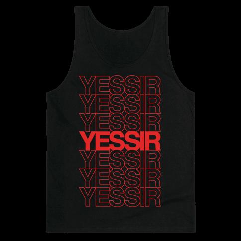 Yessir Thank You Bag Parody White Print Tank Top