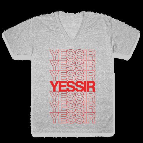 Yessir Thank You Bag Parody White Print V-Neck Tee Shirt