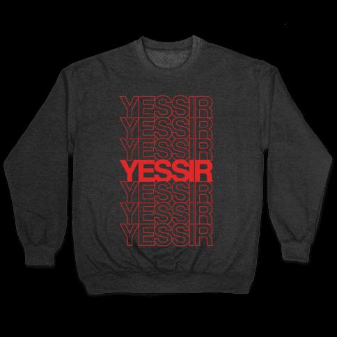 Yessir Thank You Bag Parody White Print Pullover