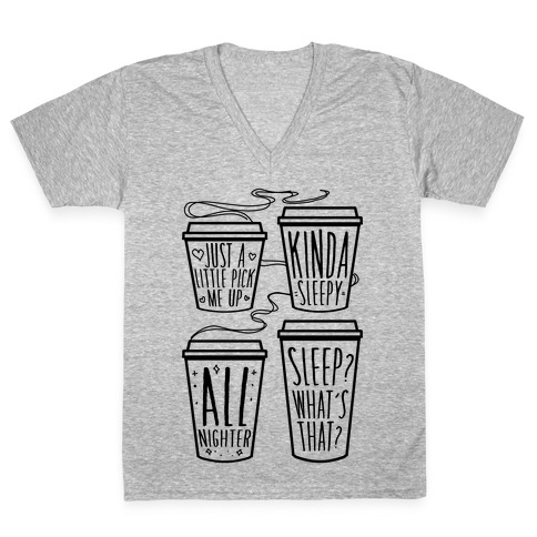 Coffee Sizes For The Restless V-Neck Tee Shirt