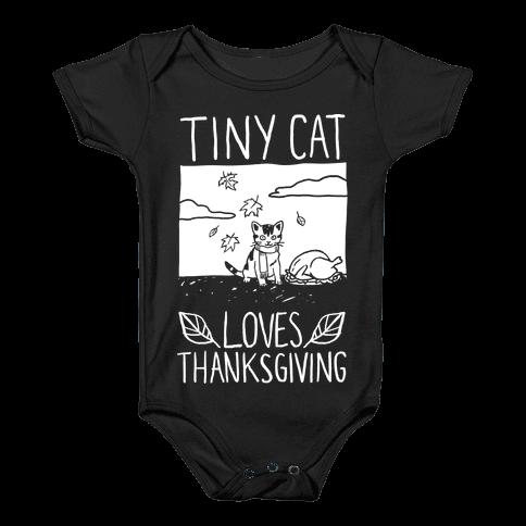 Tiny Cat Loves Thanksgiving Baby Onesy
