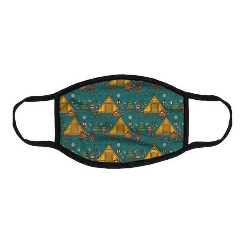 Yellow Tent Glamping Pattern Teal Flat Face Mask