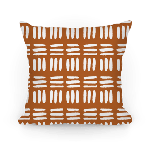 Dashed Lines Rust Boho Pattern Pillow