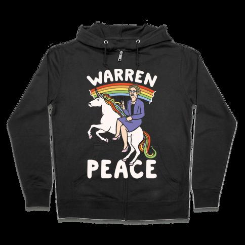Warren Peace White Print Zip Hoodie