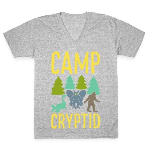 Camp Cryptid White Print V-Neck Tee Shirt