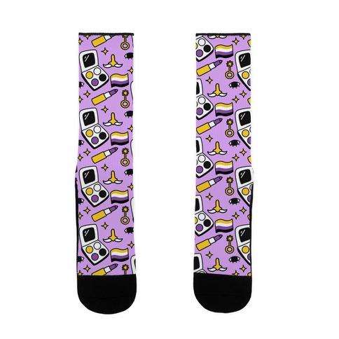 Nonbinary Makeup Pattern Sock
