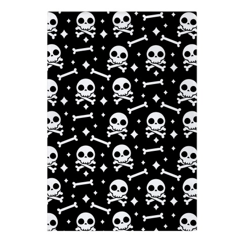 Cute Skull N' Bones Pattern (Black) Garden Flag
