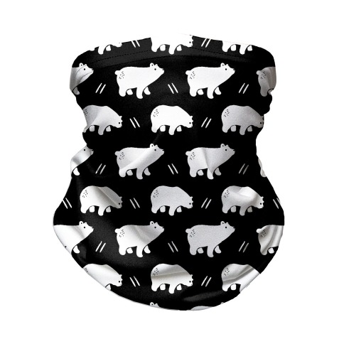 Bear Black and White Boho Pattern Neck Gaiter