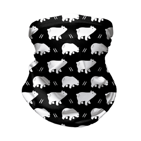 Bear Black and White Boho Pattern Neck Gaiter