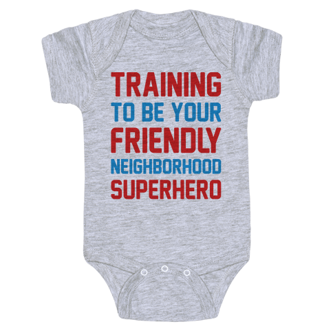 Training To Be Your Friendly Neighborhood Superhero Parody Baby Onesy