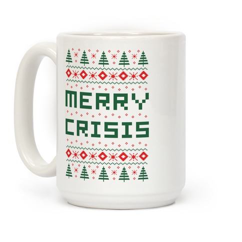 Merry Crisis Ugly Christmas Sweater Coffee Mug