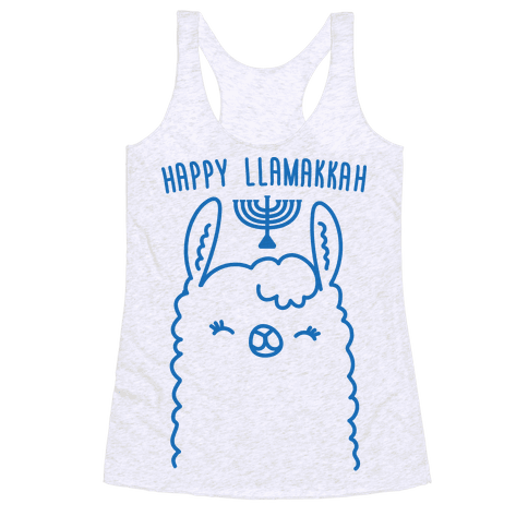 Happy Llamakkah Racerback Tank Top