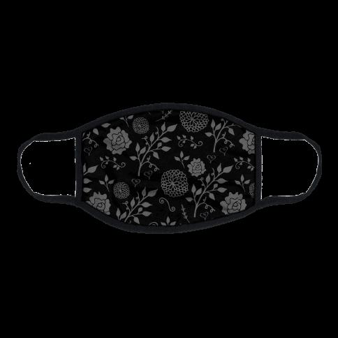 Black Subtle Floral Pattern Flat Face Mask