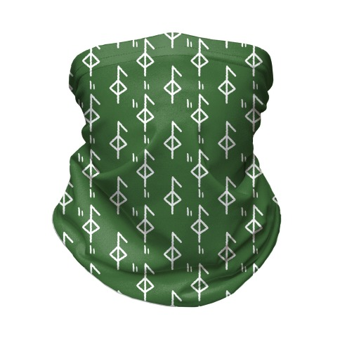 Health Rune Pattern Green Neck Gaiter