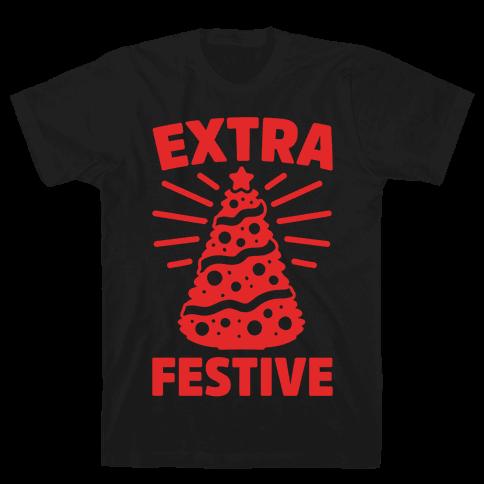 Extra Festive White Print Mens T-Shirt