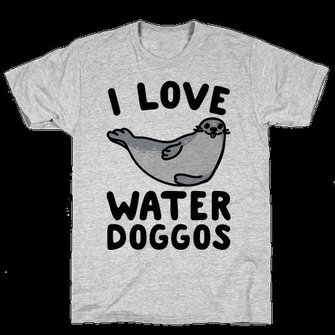 I Love Water Doggos  Mens T-Shirt
