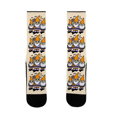 Happy Hall-Gnome-Ween (Halloween Gnomes) Sock
