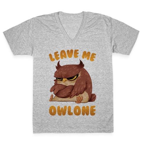 Leave Me Owlone V-Neck Tee Shirt