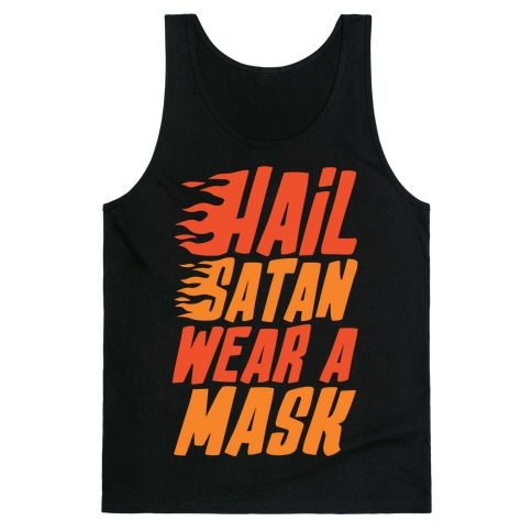 Hail Satan Wear A Mask White Print Tank Top