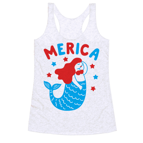 Merica Mermaid Racerback Tank Top