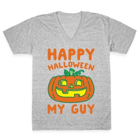 Happy Halloween My Guy White Print V-Neck Tee Shirt