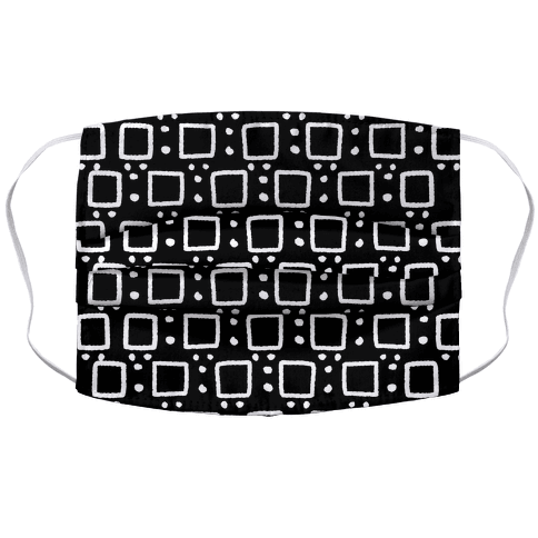 Square and Dot Rustic Black and White Boho Pattern Face Mask Cover