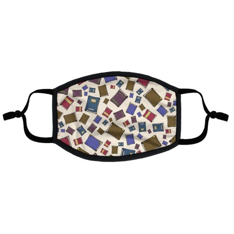 Book Collection Pattern Flat Face Mask