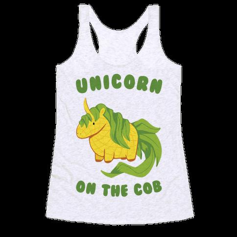 Unicorn On The Cob Racerback Tank Top