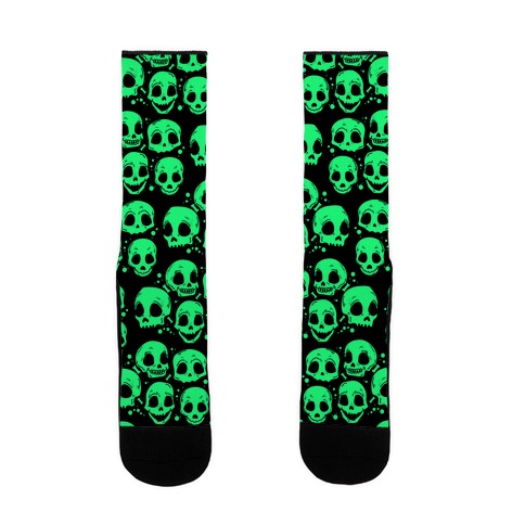 Neon Green Skulls Pattern Sock