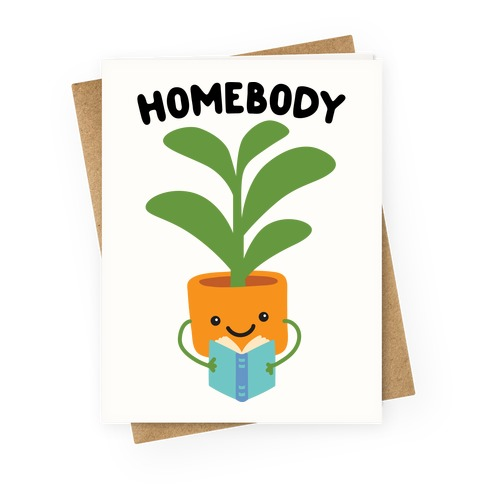 Homebody Reading Plant Greeting Card