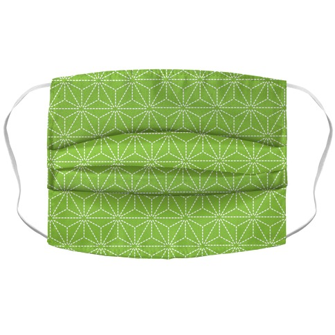 Sashiko Asanoha (Bright Green) Face Mask Cover