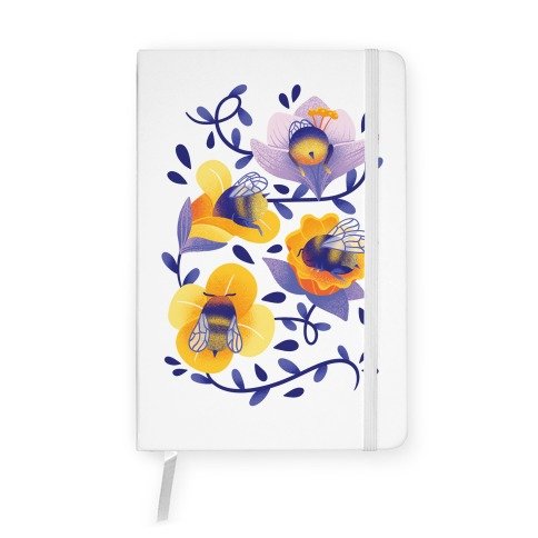 Sleepy Bumble Bee Butts Floral Notebook