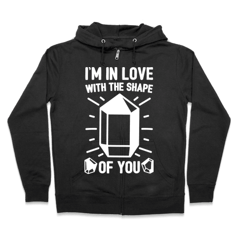 I'm In Love With The Shape of You Crystal Parody White Print Zip Hoodie