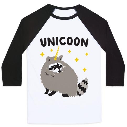 Unicoon Raccoon Unicorn  Baseball Tee