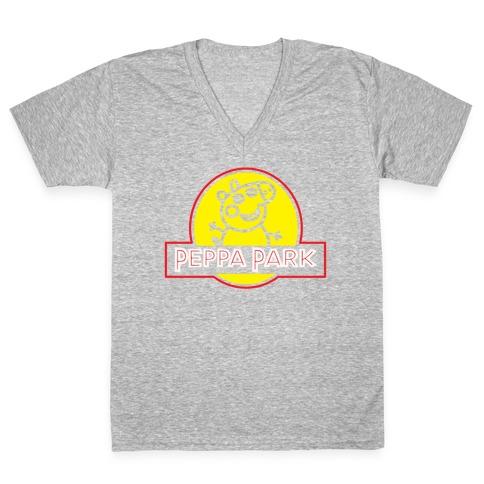 Peppa Park Jurassic Logo Parody White Print V-Neck Tee Shirt