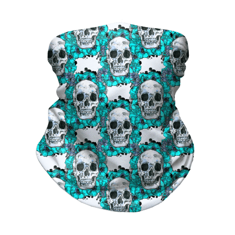 Skull on a Bed of Poppies Pattern Blue Neck Gaiter