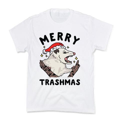 Merry Trashmas Opossum Kids T-Shirt