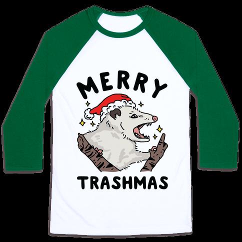 Merry Trashmas Opossum Baseball Tee