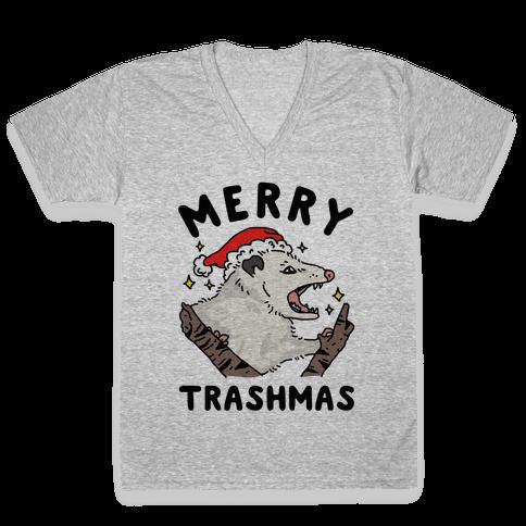 Merry Trashmas Opossum V-Neck Tee Shirt