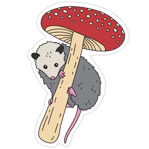 Opossum Mushroom Die Cut Sticker