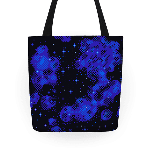 Pixelated Blue Nebula Tote