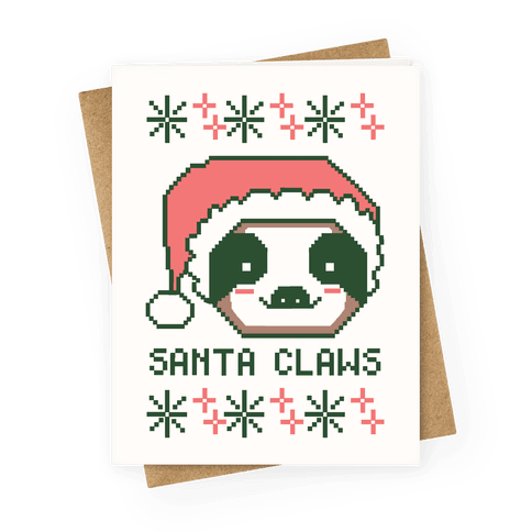 Santa Claws - Sloth Greeting Card