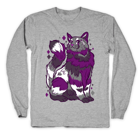 Asexual Pride Cat Long Sleeve T-Shirt