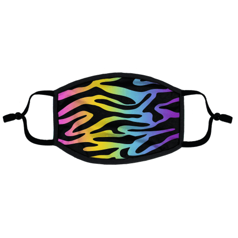 Rainbow Tiger Print Flat Face Mask