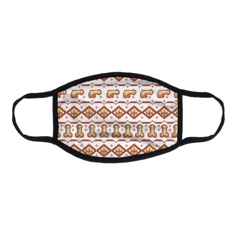 Dicks and Butts Ugly Sweater Pattern Flat Face Mask