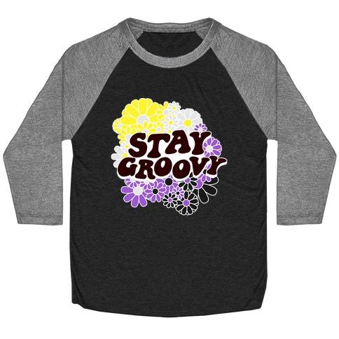 Stay Groovy (Nonbinary Flag Colors) Baseball Tee