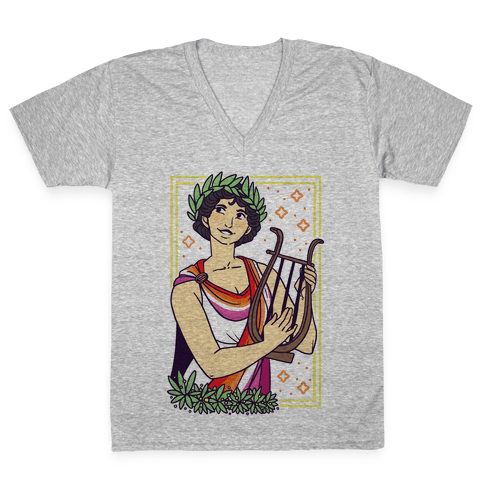 Sappho, Our Lady of Lesbians V-Neck Tee Shirt
