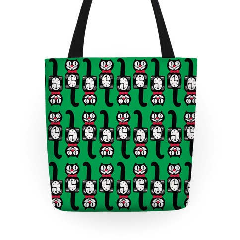 Retro Christmas Cat Clock Pattern Tote