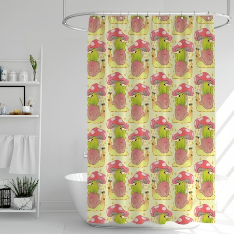 Cute Snail & Frog Shower Curtain